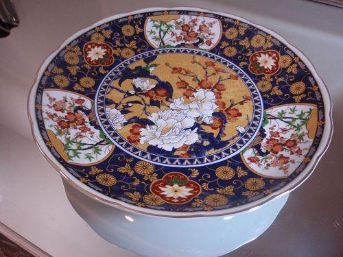 Japanese Porcelain Footed Large Plate Crysanthemum Bird