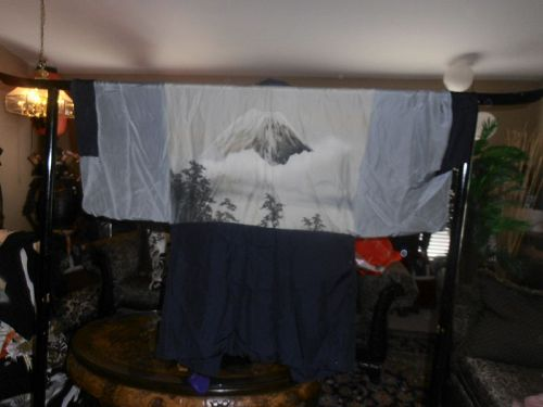 Japanese Haori Silk For Men Vintage Mt. Fuji Motif Kimono