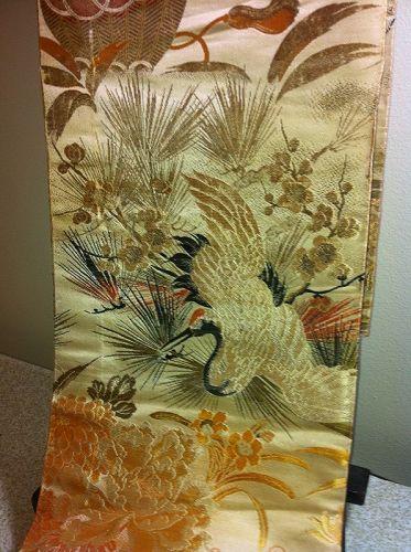 Japanese Vintage Obi Silk Cranes Flowers Maru Obi