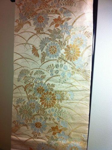 Japanese Vintage Maru Obi Textile Silk Crysanthemum FLowers