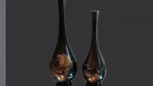 Japanese Vintage Bronze Vase Set Flower Vase Mt.Fuji Birds