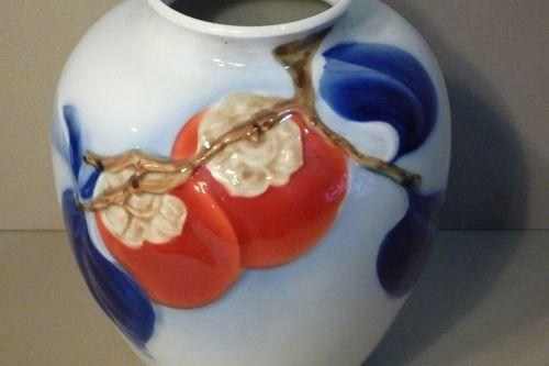 Japanese Fukugawa Vase Porcelain Persimmon Motif Collectible