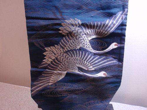 Old Japanese Nagoya Obi with Flying Cranes Navy Blue Silk