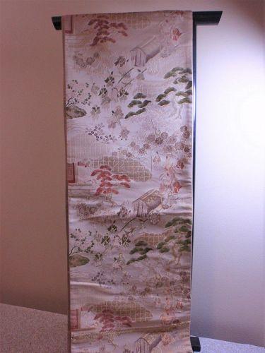 Vintage Japanese Maru Obi Samurai Trees Motif Silk Textiles