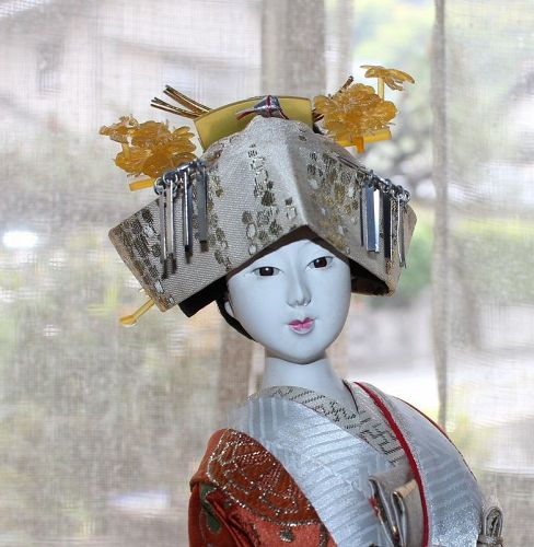 Japanese Doll Gofun Collectible Wedding Dress Kimono Silk