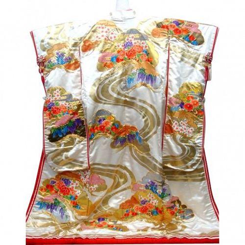 Gorgeous Japanese Wedding Uchikake Silk Kimono- Floral Vivid Colors