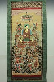Japanese Sixteen Buddhist Gods Dieties Scroll Painting