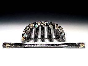 Antique Japan Geisha Hair Accessory Comb Kushi Set #4