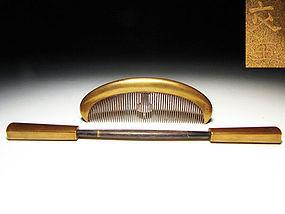 Antique Japan Geisha Hair Accessory Comb Kushi Set #12