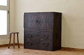 Edo Japan Antique Tansu Cabinet Furniture Kanagu #1