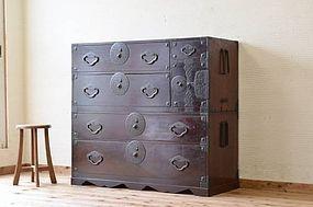 Edo Japan Antique Tansu Cabinet Furniture Kanagu #3