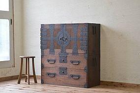 Edo Japan Antique Tansu Cabinet Furniture Kanagu #5