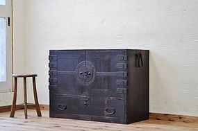 Edo Japan Antique Tansu Cabinet Furniture Kanagu #8