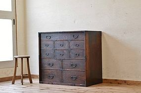 Edo Japan Antique Tansu Cabinet Furniture Kanagu #9