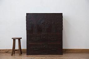 Edo Japan Antique Tansu Cabinet Furniture Kanagu #14