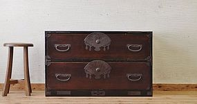 Edo Japan Antique Tansu Cabinet Furniture Kanagu #23