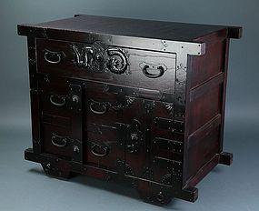 Japanese Samurai Geisha Mingu Tansu Cabinet Case