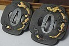 Japanese Samurai Kataba Sword Guard Tsuba 2 pieces Set GOTO