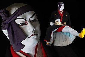Kaunsai YOSHIHAMA Iki Ningyo Japanese Lifelike KABUKI Samurai Doll Art