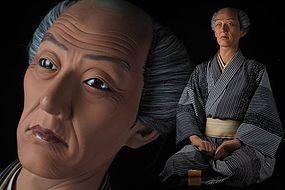 Kaunsai YOSHIHAMA Iki Ningyo Japanese Life-like Samurai Rojin Doll Art