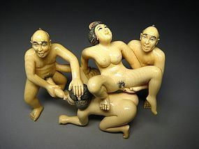 Japanese ORGY Shunga Ivory Samurai Geisha Erotica Sex Party Statue