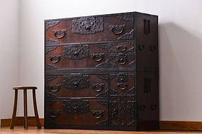 EDO Period Antique Japanese Tamamoku Sado Tansu Cabinet Ogi Chest
