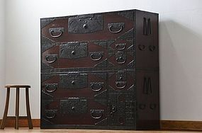 EDO Period Antique Japanese Sado Tansu Cabinet Ogi Chest