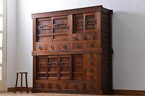 EDO Antique Japanese Sado Tansu Zelkova Genroku Cabinet Ogi Chest