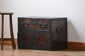 EDO Antique Japanese Sado Tansu Zelkova Cabinet Ogi Chest