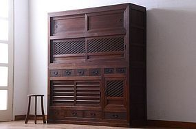 EDO Antique Japanese Sado Tansu Mizuya Cabinet Ogi Chest