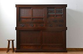 EDO Antique Japanese Sado Tansu Omi Mizuya Cabinet Ogi Chest