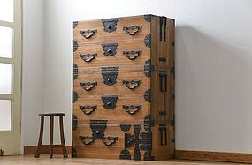 MEIJI Antique Japanese Sado Tansu Cabinet Ogi Chest