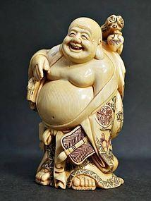 Japanese Antique Buddha Buddhist Hotei Okimono Shunga Netsuke Doll