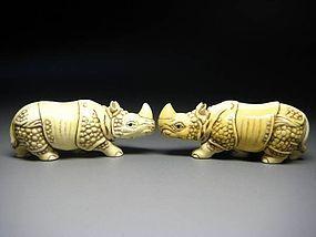 Japanese Antique Rhino Netsuke Okimono Animal Doll Mammoth