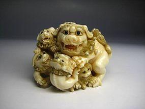Japanese Antique Nine Heads Lion Zodiac Netsuke Doll Okimono