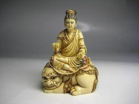 Japanese Antique Bodhisattva Leo Lotus Buddha Okimono Netsuke Doll