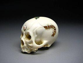 Japanese Antique Bone Skull Mother Of Pearl Netsuke Okimono Statue