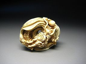 Japanese Antique Dragon Zodiac Okimono Netsuke Statue Art