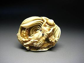 Japanese Antique Dragon Zodiac Okimono Netsuke Statue Art