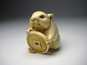Japanese Antique Rat Mouse Zodiac Okimono Netsuke Statue Art