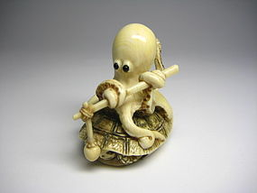 Japanese Antique Turtle Octopus Netsuke Okimono Statue Art