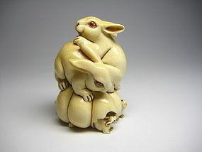 Japanese Antique Rabbit Ruby Zodiac Netsuke Okimono Statue Art
