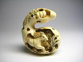 Japanese Antique Horse Zodiac Okimono Netsuke Statue Art