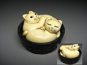 Japanese Antique Neko Cat Basket Netsuke Okimono Statue Art