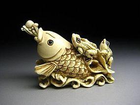 Japanese Antique Frog Toad Koi Fish Netsuke Okimono Statue Art