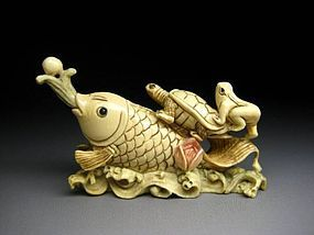 Japanese Antique Turtle Frog Koi Fish Netsuke Okimono Statue Art