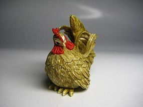 Japanese Antique Chicken Rooster Zodiac Netsuke Okimono Statue Art