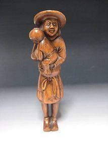 Japanese Antique Parent And Child Tsuge Netsuke Okimono Statue Art