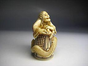 Japanese Antique NOH Dojoji Evil Snake Flame Okimono Statue Netsuke