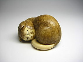 Japanese Antique Sleeping Neko Cat Netsuke Okimono Statue Art